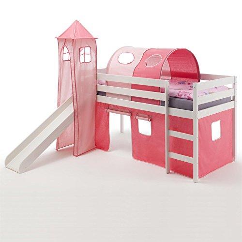 Spielbett Rutschbett Hochbett mit Rutsche BENNY, Kiefer massiv weiß lackiert 90x200 cm, mit Rutsche Vorhang Turm und Tunnel in pink/rosa