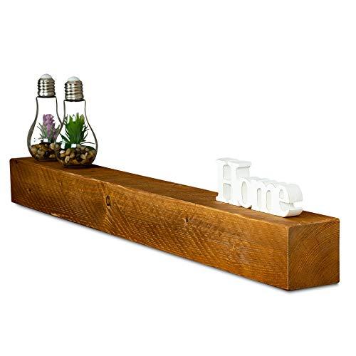 levandeo Wandregal Holz Massiv 100x10cm Teak Farbig Wandboard Vintage Rustikal Design Natur Regal Bord -
