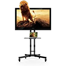 """FLEXIMOUNTS C06 TV carro movil soporte de pie para ordenador/TV plano LCD LED Plasma de 32""""-65"""" con estante plástico de DVD y ruedas"""