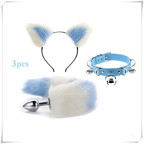 Ieyol Fashion Dress Up Kostüm Halloween Cosplay Kostüm Set Fuchsschwanz B-ütt an-âl Pl-ùg T-ö-ys + Plüschohren Cat Haarband + Glockenband (weiß und blau2)