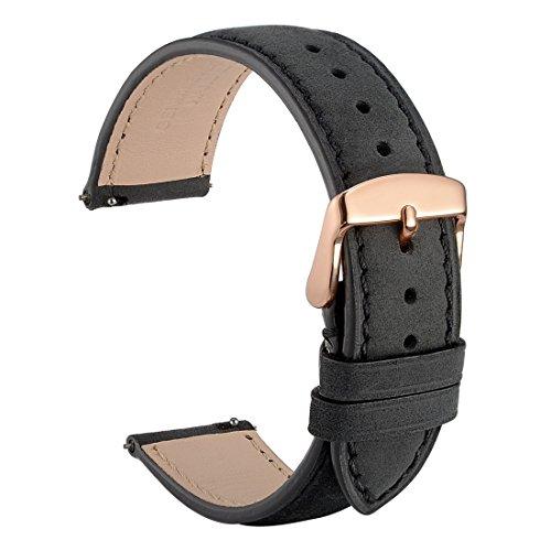 WOCCI Wildleder Vintage Leder Uhrenarmband mit Rose Gold Schnalle - 20mm Quick Release Armband (Schwarz mit Ton-in-Ton-Naht)