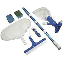 Steinbach - Juego de accesorios básicos para la limpieza de piscinas (aspiradora para el suelo de la piscina, palo telescópico de 2 m de 4 piezas, termómetro, cepillo para piscina, cepillo para fregar y red para hojas)