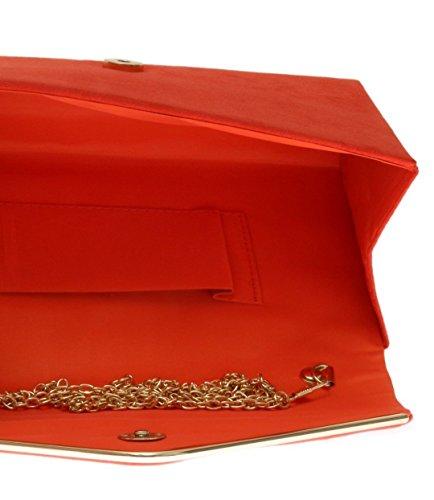 Xardi London - Pochette da donna, in finta pelle scamosciata, con chiusura a mo�?di busta, ideale per serate eleganti e balli studenteschi Orange