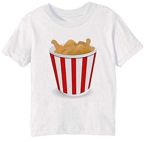 Frit Poulet Enfants Unisexe Garçon Filles T-shirt Cou D'équipage Blanc