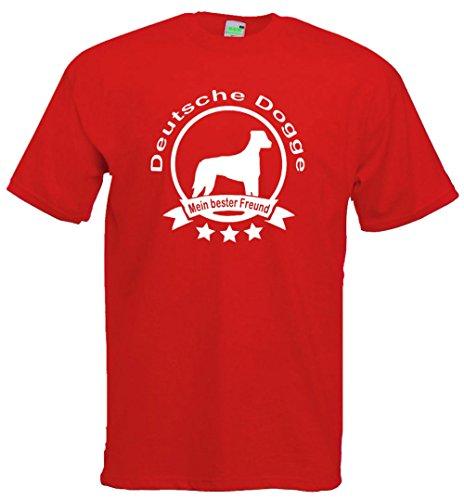 Deutsche Dogge - Mein bester Freund, Hunde T-Shirt, Dogman, Gassimann, Gassifrau, Premiumshirt von Bimaxx® Rot