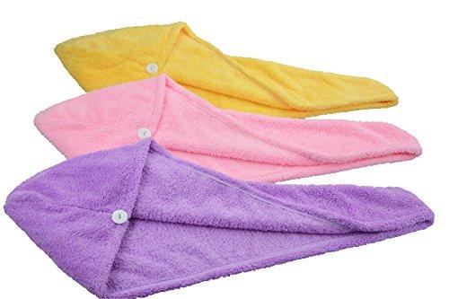 Hope Shine Turbante de microfibra para secar el pelo (Púrpura+Rosa+Amarillo)