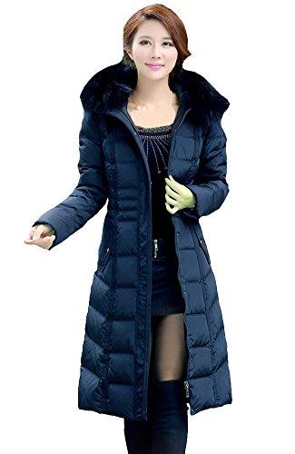 queenshiny Damen Frauen Lange Daunenjacke Mantel Jacke mit Waschbär Pelz Kragen mit Kapuze Blau 38