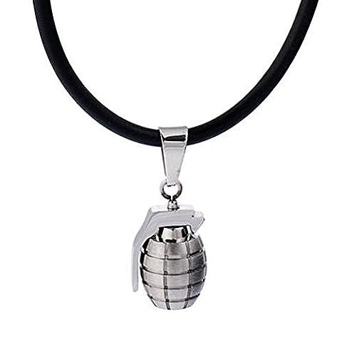 DonDon Collier en cuir pour homme 50 cm avec pendentif acier inoxydable Grenade