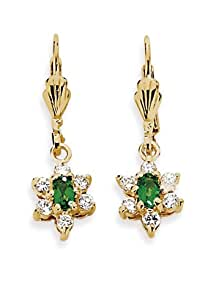 Pretty Woman 22ct Gold Plated Emerald/ CZ 3cm Star Drop Earrings with Leverback fastening