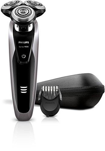 Philips Serie 9000 S9111/41 - Máquina de afeitar con cabezales de 8 direcciones, uso en seco/húmedo, 50 min de batería, incluye perfilador de barba con 5 posiciones y funda de viaje, plata