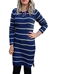 TopsandDresses Ladies Longer Navy White Striped Cotton Jumper Dress in UK Sizes 10-18
