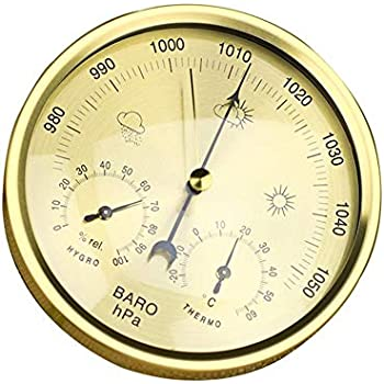 AMTAST Dial Type Barometer with Thermometer Hygrometer Weather Station Barometric Pressure Measures Simplicity /& Easy Reading Metric