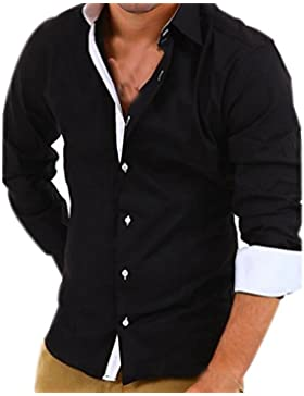 Uomo Slim Fit Camicie Maniche Lunghe Casual Camicia Abito Camicia Affari Top Classiche Formale Camicetta Shirt...