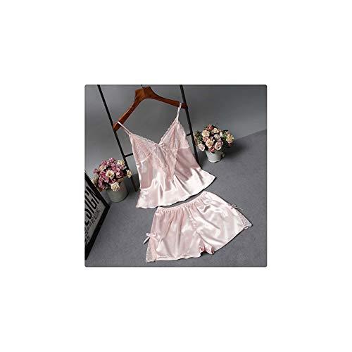 2 Piece Pajama Set Silk Women Pajamas Nightgowns Sexy Ladies Women Nighties Pyjama Femme Ice Silk pj Set Pajama Shorts pink L
