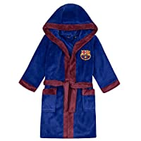 FC Barcelona Official Football Gift Boys Hooded Fleece Dressing Gown Robe
