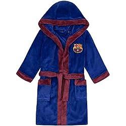 FC Barcelona Officiel - Robe de Chambre à Capuche thème Football - Polaire - garçon - Bleu électrique - 11-12 Ans