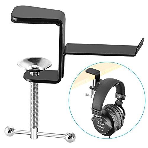 Neewer Schwarz Tisch Schreibtisch Kopfhörer Halter mit 4,5 Zentimeter Maximale Klemme Öffnungsgröße, Praktisch Unformbare Metallic Kopfhörer Schreibtisch Aufhänger Halter für Tisch Schreibtisch und andere flache Oberflächen