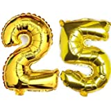 """Evisha Number Golden Foil Balloons Set for Birthday Party Decoration Balloons Size 16"""" (25)"""