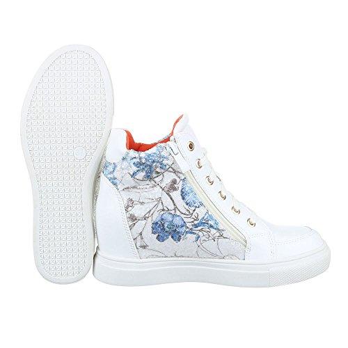 High-Top Sneaker Damen Schuhe High-Top Keilabsatz/ Wedge Sneakers Reißverschluss Ital-Design Freizeitschuhe Weiß Blau