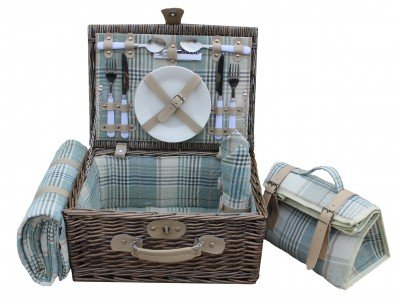 2 Personen Land creme Tartan Kühler Willow Picknickkorb (Willow 2-licht)