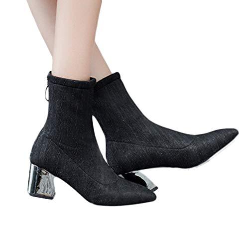 Geili Damen Halbschaft Stiefel Hoher Stiefeletten mit Blockabsatz Elegant Stretch Stoff s Frauen Elastische High Heels Reißverschluss Spitz Mittlere Stiefel Boots Stöckelschuh