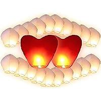 Lot de 22 Lanternes volantes blanches inclus 2 coeurs rouges géants pour fête mariage amoureux romantique cadeau couple saint valentin