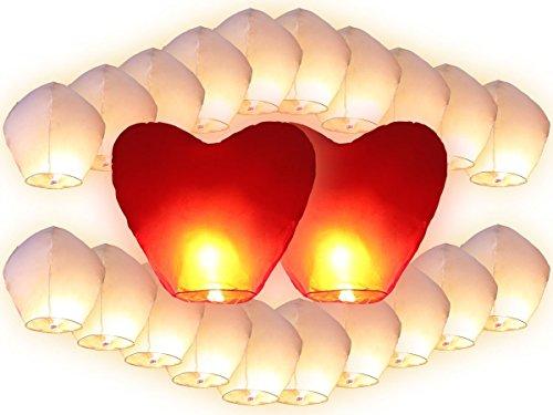 Trendmaus. de 22 chinoises volantes (20 blancs + 2 pièces lanternes coeurs rouges géants), rouge, 90 x 50 cm