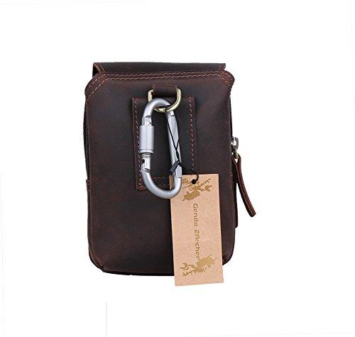 Genda 2Archer Leder Flapover Doppelreißverschlüsse Tasche Handy Gürteltasche (Dunkelbraun) Dunkelbraun
