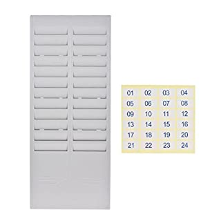 Aibecy 24-Slot Time Card Rack Plastic Wall Mounted Cards Holder for Office Factory Time Card Machine Attendance Recorder