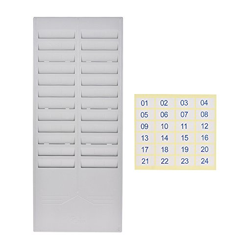 Aibecy 24-Slot-Zeit-Karten-Rack-Plastik an der Wand befestigte Karten-Halter für Büro-Fabrik-Zeit-Karten-Maschinen-Anwesenheits-Recorder