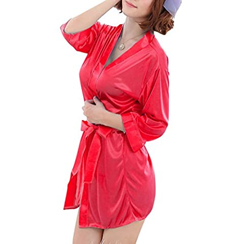 Aelegant Femme Été Pyjama Robe de Nuit Lingerie Vêtement Manches Longues Sexy Nuisette Babydoll Vêtement de Nuit (Taille Unique,