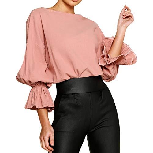 ESAILQ Damen O Neck 3/4 Ärmel Flare Ärmel Bluse Tops T-Shirt(XL,Rosa)