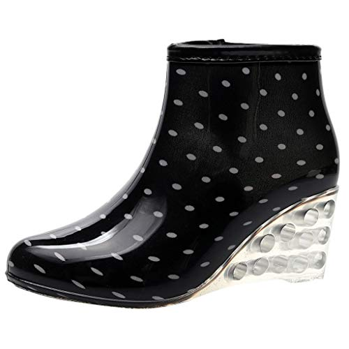 Dorical PVC Jelly Waterproof Wedge Rain Boots Bows Polka-Dot Height Increasing Anti-Slip Rain Boots Women Ladies Girls Shoes