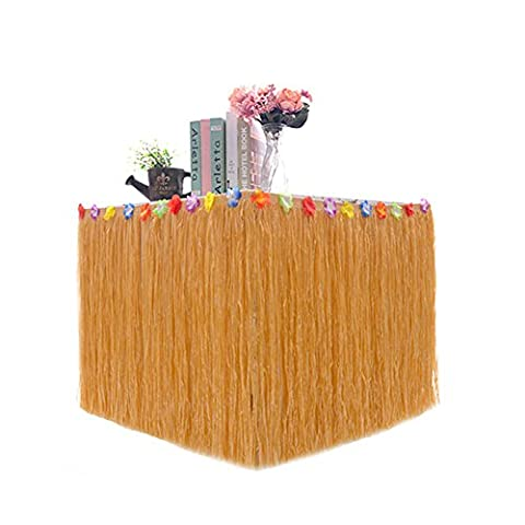 Colored Flower Inlaid PP Artificial Grass Table Skirt Hawaiian Tropical Luau Party Tableware Decoration -