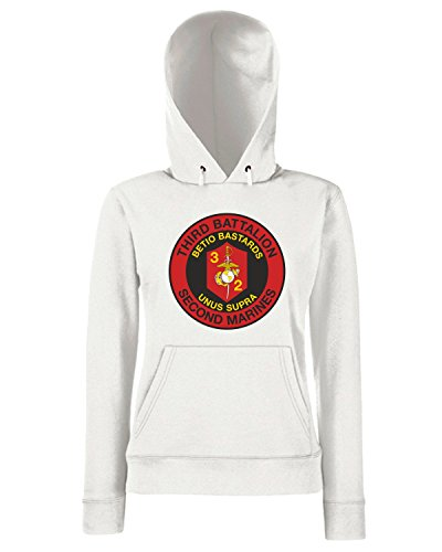 T-Shirtshock - Sweats a capuche Femme TM0334 3rd Battalion 2nd Marine Regiment USMC usa Blanc