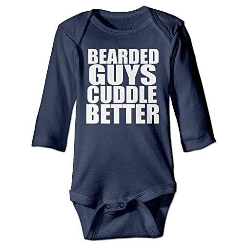MSGDF Unisex Newborn Bodysuits Bearded Guys Cuddle Better Funny Boys Babysuit Long Sleeve Jumpsuit Sunsuit Outfit Navy Guy Zip Hoodie