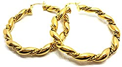 Vonchic Twisted Rope Creole Hoop Earrings Gold Filled Hoops New - Womens Girls LP7lLzuzf