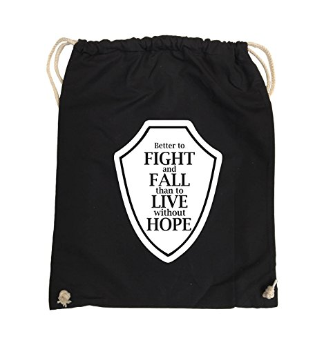 Comedy Bags - Better to fight and fall than to live wihtout hope - Turnbeutel - 37x46cm - Farbe: Schwarz / Pink Schwarz / Weiss