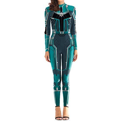 QQWE Captain Marvel Kostüm Damen Weihnachten Halloween Show Cosplay Kostüm Damen Super Hero Bodysuit Spandex Overalls,A-M