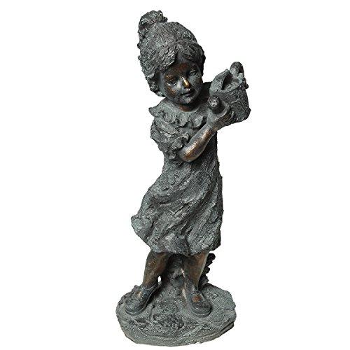 Ambiente Haus 84109 Kind-er Statue Mädchen mit Kanne 43 cm (Statue Kleines Garten Mädchen)
