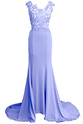 MACloth Women Mermaid Long Prom Dress 2017 Lace Jersey Formal Party Evening Gown Sky Blue