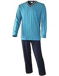 Schlafanzug Herren lang Herren Pyjama lang Hausanzug Herren aus 100% Baumwolle Model Vintage