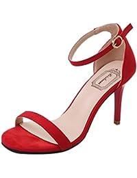 13f4df91f6669 LUCKYCAT Prime Day Amazon, Sandales d été Femme Chaussures de Été Sandales  à Talons Chaussures Plates Cheville Commune…