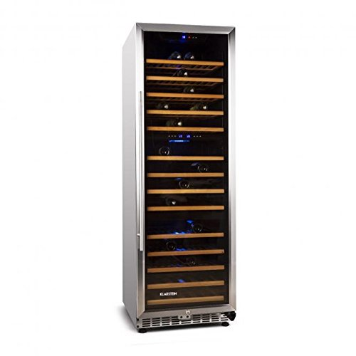 Klarstein 10026899. Freestanding Stainless Steel 144bottle (S) A + + + Wine Cooler-Wine Coolers 289(Freestanding, Stainless Steel, Black, 14Shelves, 1Door (S), transparent) - Doppel-tür Kompakt Kühlschrank