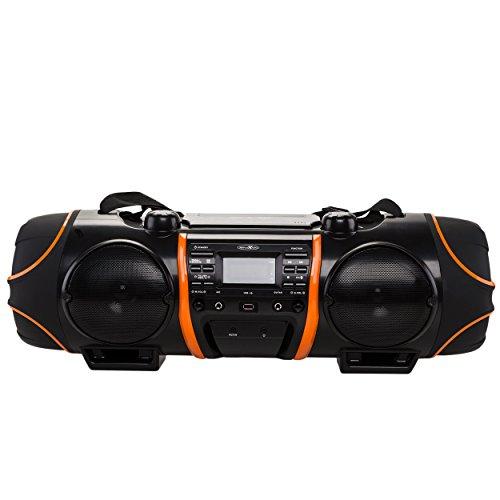 Reflexion CDR-1000BT Stereo-Ghettoblaster mit Bluetooth (CD-Player, USB, MP3, SD-Kartenleser, UKW-Radio, AUX-In, Kopfhörer, Mikrofon- und Gitarren-Anschluss, Fernbedienung, Batteriebetrieb, max. 640 Watt Musikleistung) schwarz