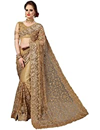 Nivah Fashion Women's Net Embroidered Saree with Blouse Piece(K770)