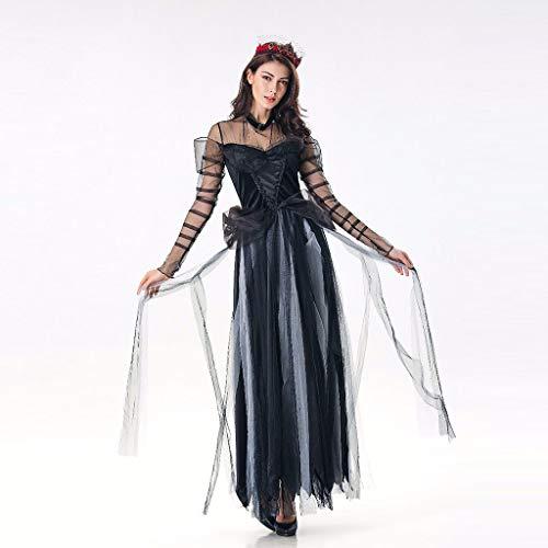 Elsta Halloween Kostüm Vampir Damen Lange Kleid Schwarz Kostüm Karneval Sexy Fasching Prinzessin Zombie Abendkleid Ausführen Böse Königin Cosplay Outfit Temperament Göttin Königin Kleider (Böse Prinzessin Halloween Kostüm)