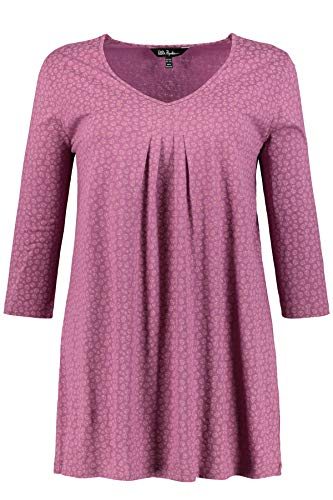 Ulla Popken Damen Minimalprint, 3/4 Arm, A-Linie T-Shirt, Violett (Aubergine 80), (Herstellergröße: 46+)