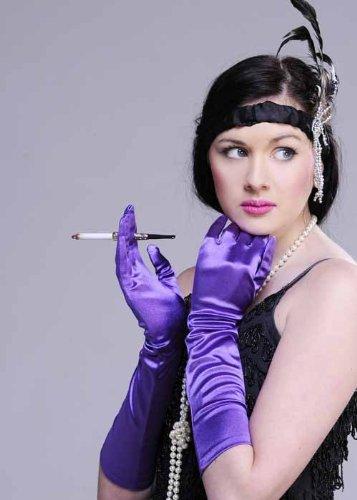 Damen 20 s lang lila Satin Handschuhe