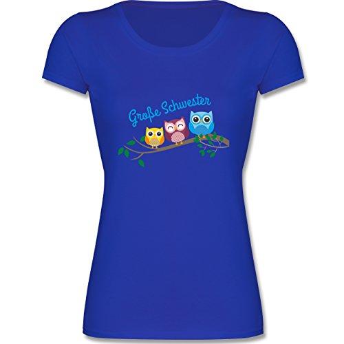 Geschwisterliebe Kind - Große Schwester Süße Eulen - 128 (7-8 Jahre) - Royalblau - F288K - Mädchen T-Shirt (Wrap Kurzarm-t-shirt)